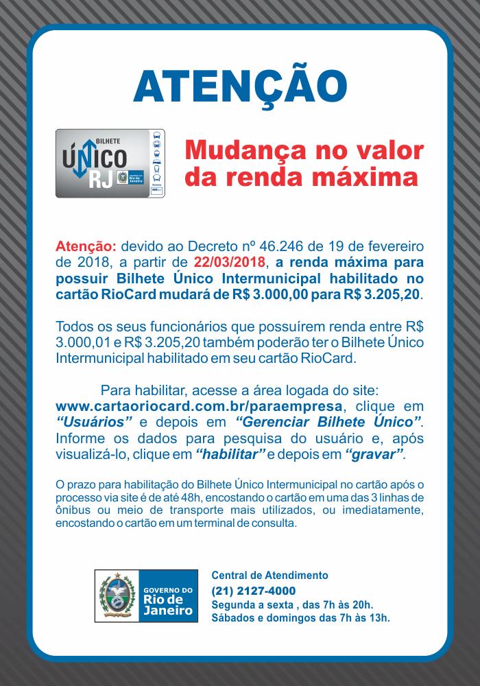 bilhete unico ntermunicipal nova renda maxima digital