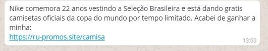 atencao novo golpe do whatsaap com a camisa sa selecao brasileira e nike cuidado