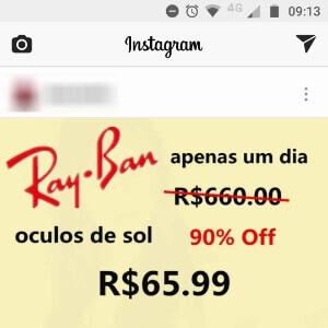 Golpe no Instagram Promete Ray-Ban Quase de Graca
