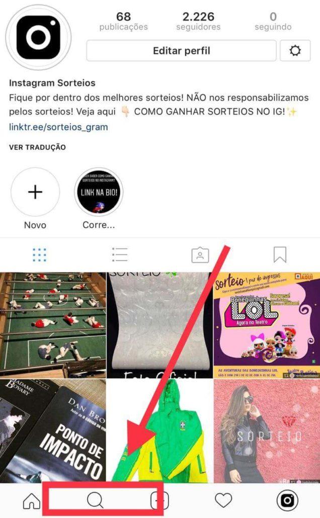como fazer uma busca por sorteios que estão acontecendo no instagram