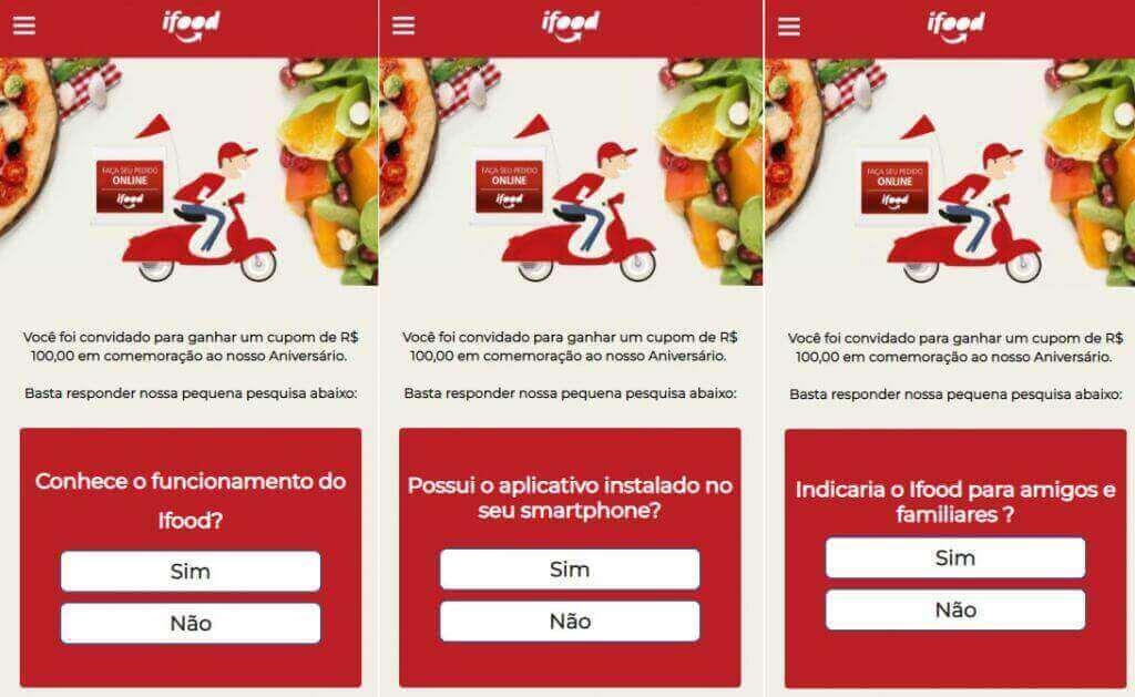 golpe no whatsapp usa nome do app ifood e oferece cupons falsos de 100 reais